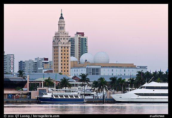 Miami Waterfront and Freedom Tower at dawn. Florida, USA (color)