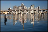 Mc Arthur Causeway bridge and high rise towers, Miami. Florida, USA ( color)