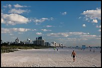 People strolling on South Beach, Miami Beach. Florida, USA ( color)