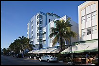 Row of hotels in Art Deco Style, Miami Beach. Florida, USA (color)