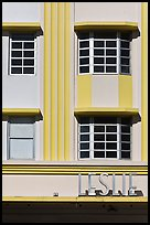 Detail of boxy Art Deco facade, Miami Beach. Florida, USA (color)