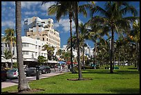 Palm trees and Art Deco hotels, South Beach, Miami Beach. Florida, USA (color)