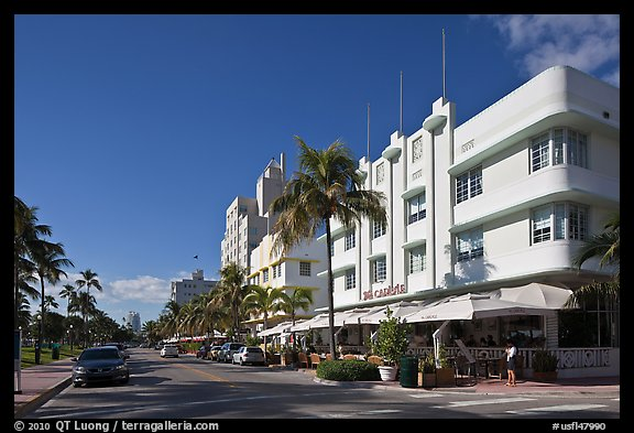 Beachfront street and hotels, South beach, Miami Beach. Florida, USA (color)
