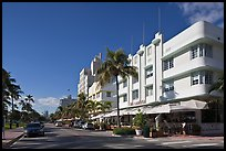 Beachfront street and hotels, South beach, Miami Beach. Florida, USA ( color)