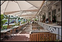 Outdoor restaurant tables, South beach, Miami Beach. Florida, USA (color)