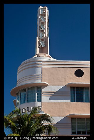 Deco-style spire on top of Essex hotel, Miami Beach. Florida, USA (color)