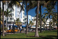 South Beach Art Deco buildings seen through palm trees, Miami Beach. Florida, USA
