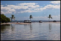 Flooded lot and Biscayne Bay, Matheson Hammock Park, Coral Gables. Florida, USA (color)