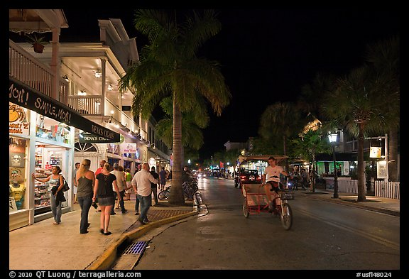 Street at night. Key West, Florida, USA (color)