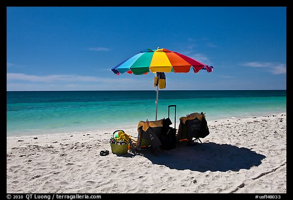 Beach umbrella and turquoise water, Bahia Honda State Park. The Keys, Florida, USA