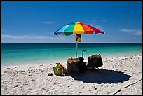 Beach umbrella and turquoise water, Bahia Honda State Park. The Keys, Florida, USA (color)