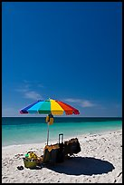 Beach unbrella, blue sky and water, Bahia Honda State Park. The Keys, Florida, USA (color)