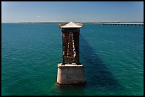 Abandonned bridge, Bahia Honda Channel. The Keys, Florida, USA (color)