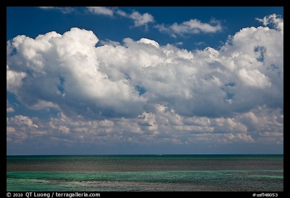 Clouds floating above Atlantic Ocean, Matacumbe Key. The Keys, Florida, USA
