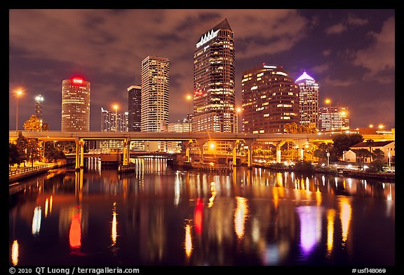 Night skyline, Tampa. Florida, USA (color)