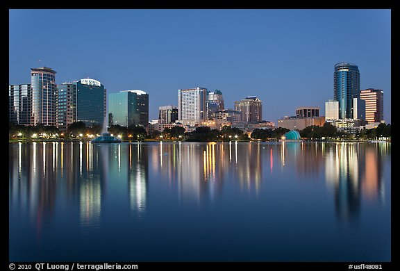 Orlando Skyline at night. Orlando, Florida, USA (color)