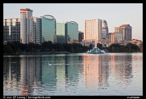 High rise buildings and fountain, lake Eola. Orlando, Florida, USA (color)