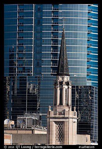 Church bell tower and glass building. Orlando, Florida, USA (color)