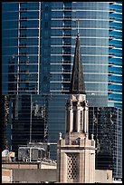 Church bell tower and glass building. Orlando, Florida, USA ( color)