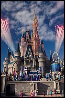 Daytime fireworks and stage show, Cindarella castle. Orlando, Florida, USA