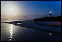 Lighthouse Point and full moon, Sanibel Island. Florida, USA (color)