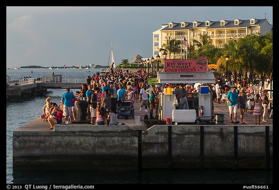 Crowds anticipating sunset in Mallory Square. Key West, Florida, USA (color)