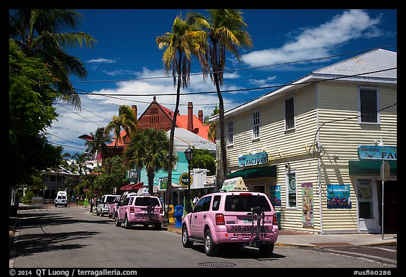 Street with pink cabs. Key West, Florida, USA (color)