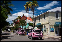 Street with pink cabs. Key West, Florida, USA ( color)