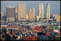Shipping containers and skyline. Florida, USA ( color)