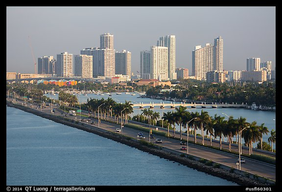 Causeway and skyline. Florida, USA (color)