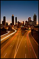 Highway and skyline, dusk. Atlanta, Georgia, USA (color)