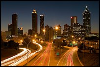 Atlanta skyline and highway at night. Atlanta, Georgia, USA