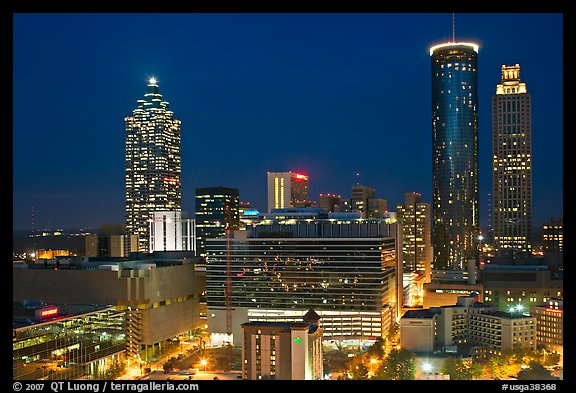 picture photo downtown high rise buildings at night atlanta georgia usa. Black Bedroom Furniture Sets. Home Design Ideas