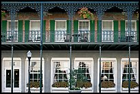 Balcony with wrought-iron decor, Marshall House, Savannah oldest hotel. Savannah, Georgia, USA (color)