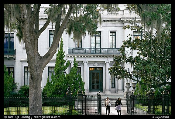 Women walking out of mansion. Savannah, Georgia, USA (color)