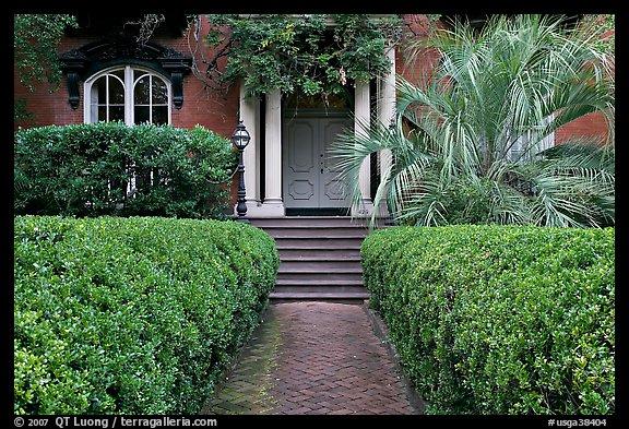House Entrance With Garden, Historical District. Savannah, Georgia, USA