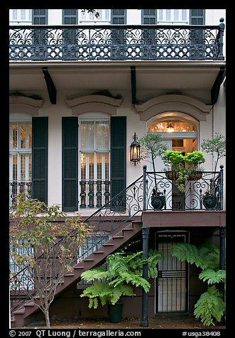 House entrance with lights. Savannah, Georgia, USA (color)