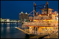 Riverboat and Savannah River at night. Savannah, Georgia, USA (color)