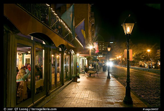 Picture Photo Restaurant Lamps And Sidewalk Of River