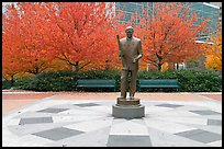 Monument to William Porter Payne and fall colors, Centenial Olympic Park. Atlanta, Georgia, USA (color)
