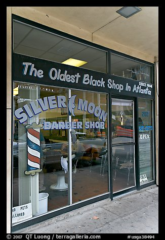 Silver Moon barber shop, oldest black shop in Atlanta. Atlanta, Georgia, USA (color)