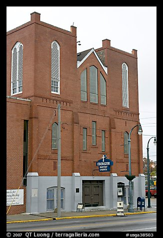 Historic Ebenezer Baptist Church, Martin Luther King National Historical Site. Atlanta, Georgia, USA (color)