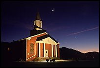 Church and moonrise. Georgia, USA