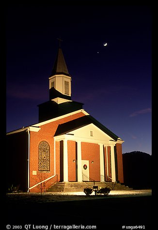 Church and moonrise. Georgia, USA (color)