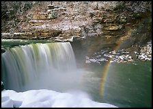 Double rainbow over Cumberland Falls in winter. Kentucky, USA