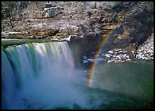 Rainbow over Cumberland Falls in winter. Kentucky, USA