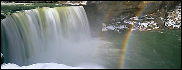 Waterfall and rainbow in winter. Kentucky, USA (Panoramic color)