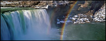 Waterfall and rainbow. Kentucky, USA (Panoramic color)