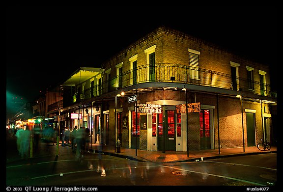 Maison Bourbon, on Bourbon Street, French Quarter. New Orleans, Louisiana, USA (color)