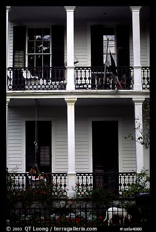 Mansion facade in Southern style, Garden Distric. New Orleans, Louisiana, USA (color)